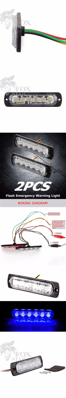 2pcs Bright Blue 6 Led Car Truck Van Side Strobe Light Warning Lights Wiring Diagram Flasher Caution Emergency Construction 19 Flash Modes By Foxstar Pinterest