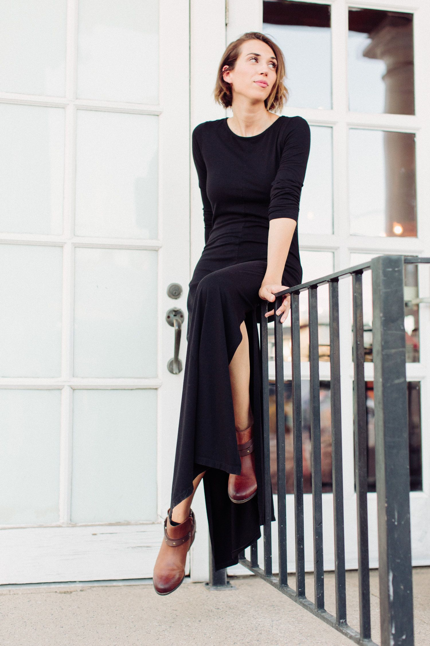 long dress with booties