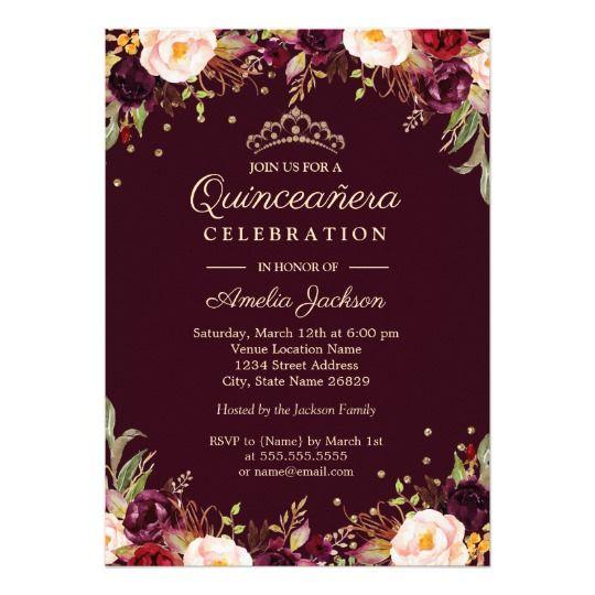 Gold Burgundy Elegant Floral Quinceanera Invitation In 2018