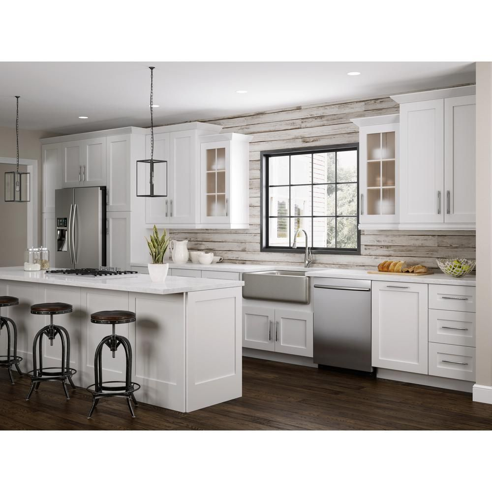 Home Decorators Collection Newport Assembled 30 In X 15 In X 12 In Wall Kitchen Cabinet With Double Doors In Pacific White W3015 Npw The Home Depot In 2020 Home Depot Kitchen