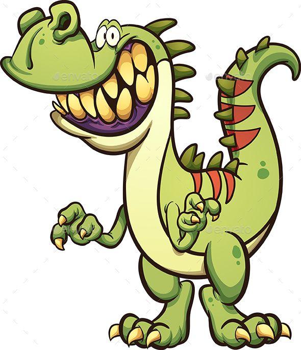 Happy Cartoon T Rex Dinosaur With A Big Toothy Smile Vector Clip