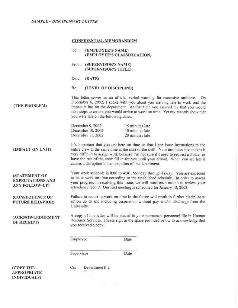 Image Result For Workplace Warning Letter Acknowledgement Letter