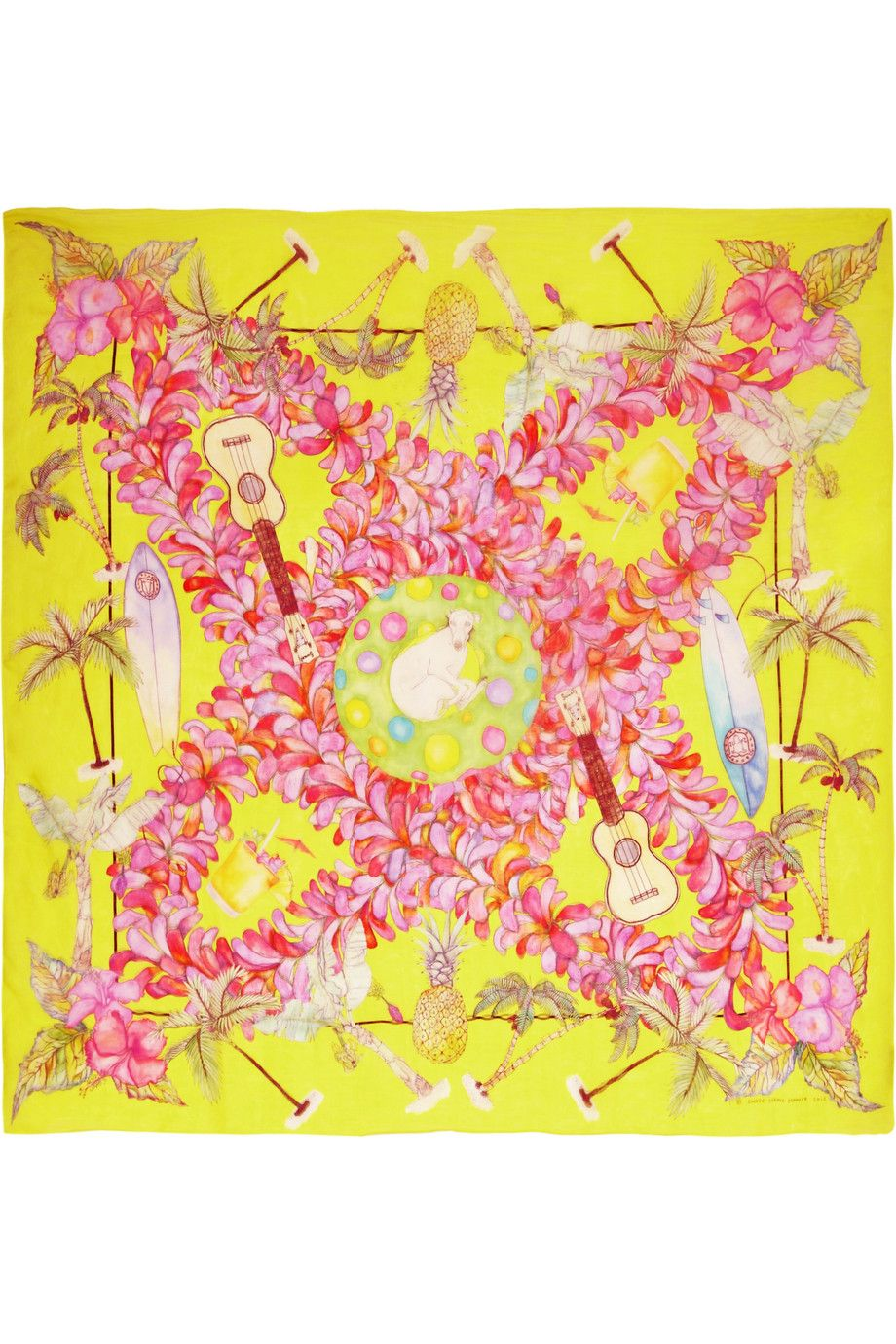 Canary Honolulu printed silk-chiffon scarf, SWASH London SS12 (P.S. Spot the Whippet!)