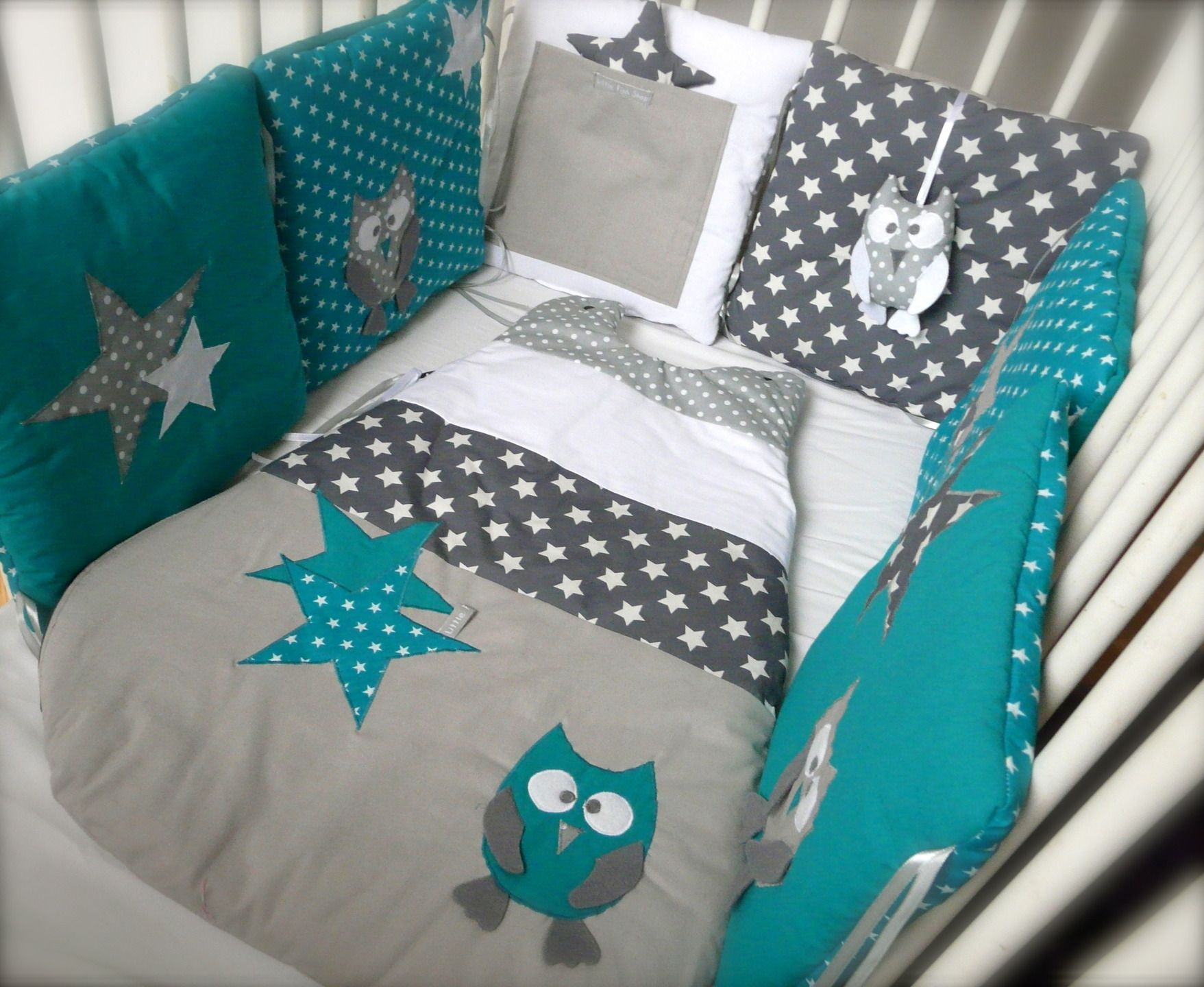 Tour de lit 70X140 Chouettes et étoiles (bleu canard et gris ...