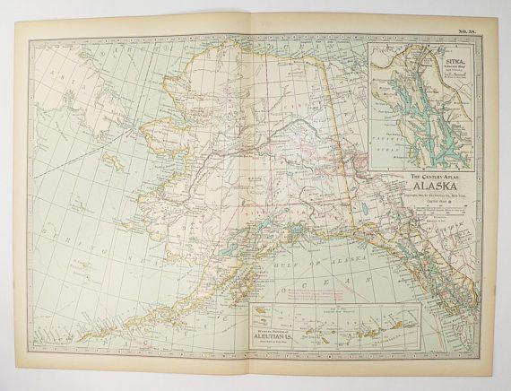 Antique Alaska Map Vintage Original Old State District AK Map - Map of northwest us and alaska