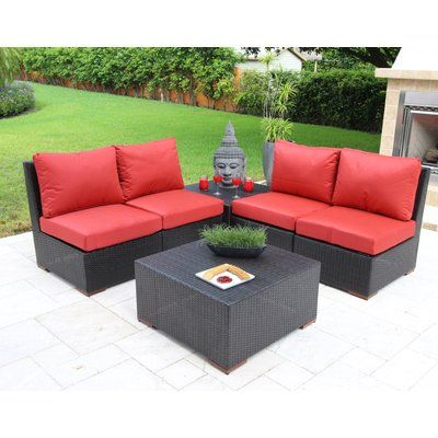 Bellini Scholtz 6 Piece Deep Seating Group with Cushions Fabric: Red - Canvas Jockey Red