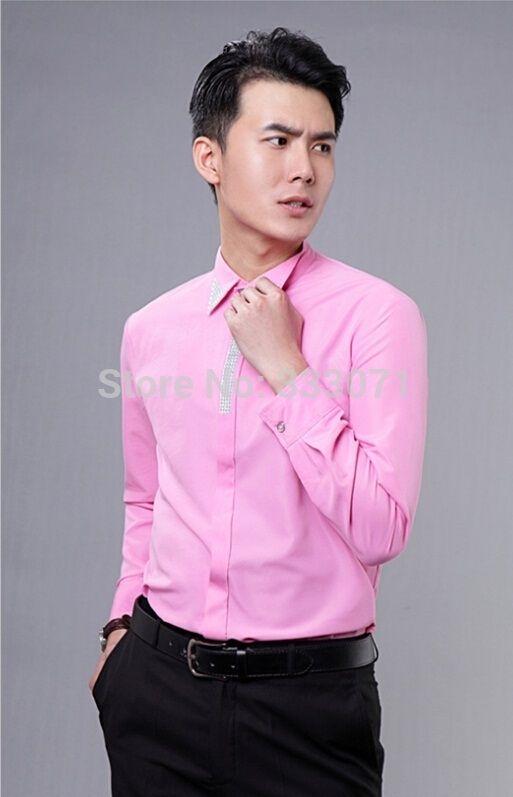Hot New Pink / Hot Pink Rhinestone Long-sleeved Men Shirt Wedding ...