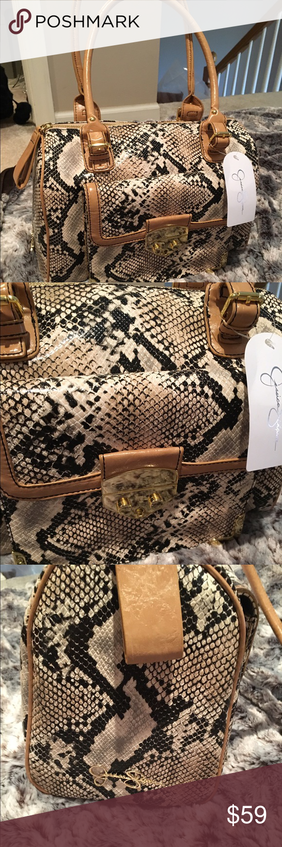 🎀New Jessica Simpson Snakeskin Satchel🎀 Beautiful Large Jessica Simpson Satchel. New with Tags. This bag is beautiful and unique. Great Christmas gift. Jessica Simpson Bags Satchels