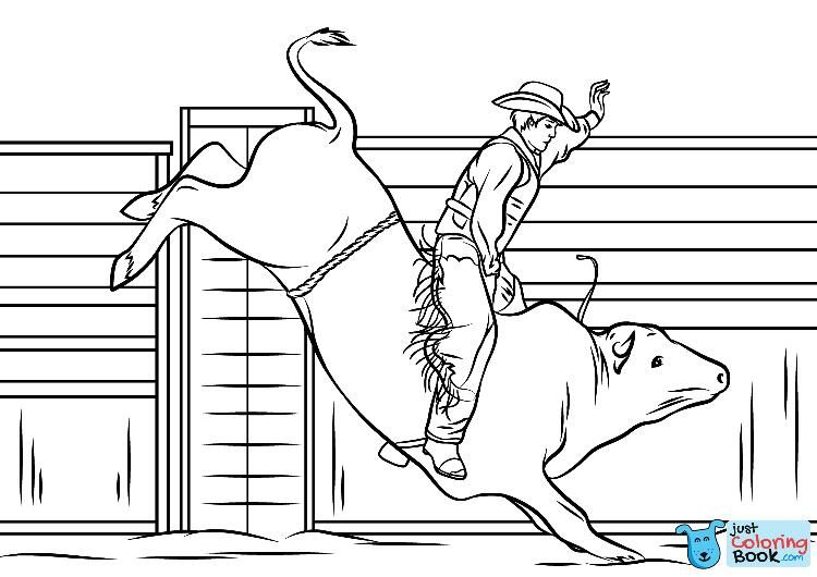 Cowboy Riding A Bull Coloring Page Free Printable Coloring Throughout Best Printable Rodeo Bull Co Coloring Pages To Print Coloring Pages Horse Coloring Pages