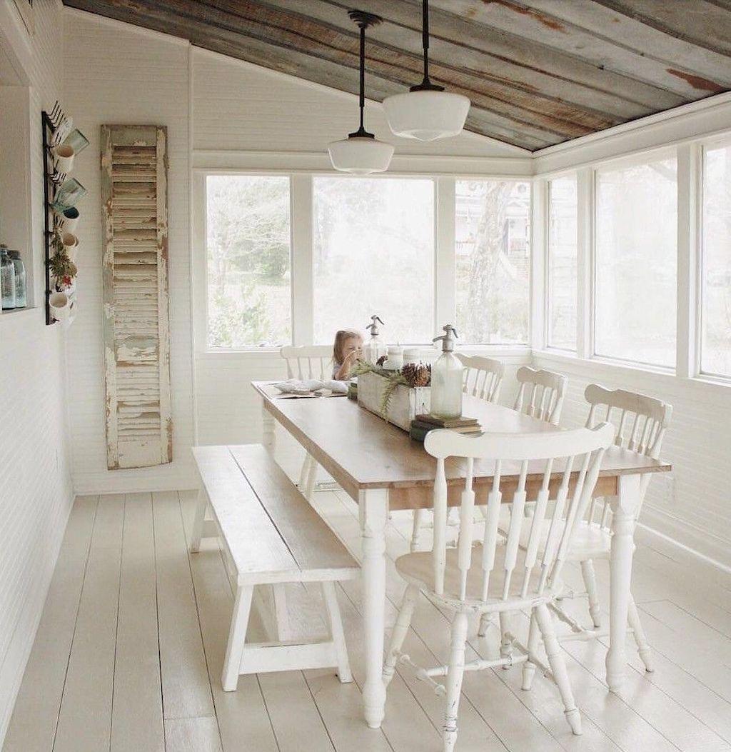 Small Room Addition Ideas: 65 Cozy Farmhouse Sunroom Decor Ideas (With Images