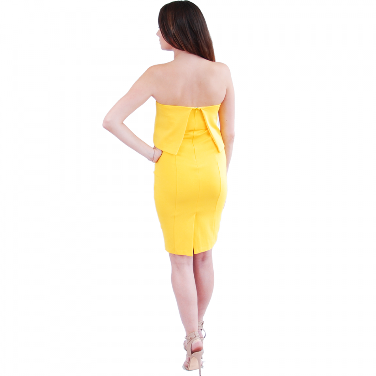 dcaedd38df8c Lavish Alice | Canary Yellow Bandeau Split Back Cropped Midi Dress ...