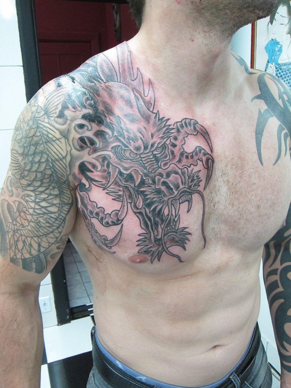 Pin By Derek Eaton On Tattoo Ideas Tribal Shoulder Tattoos Cool Chest Tattoos Dragon Tattoo