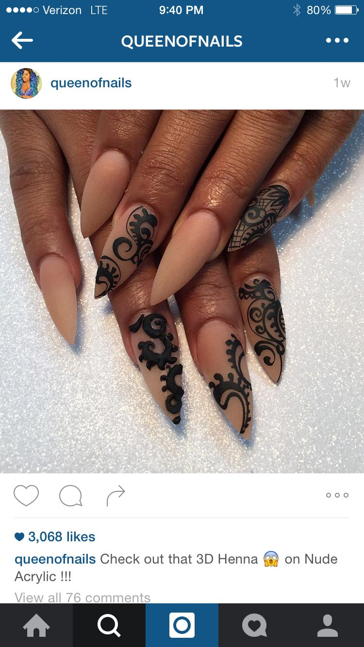 Nude Acrylic With Henna Nails Nails Nail Art Nail Designs