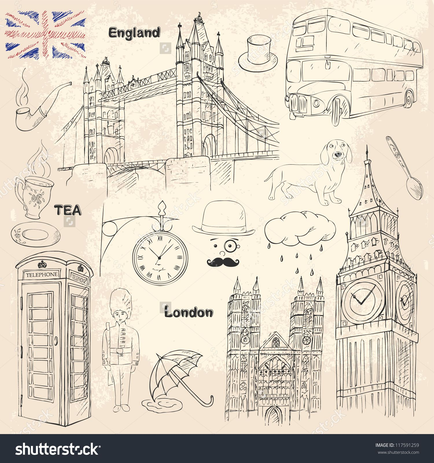 Poster Drucke London Travel Collection With Different British Elements