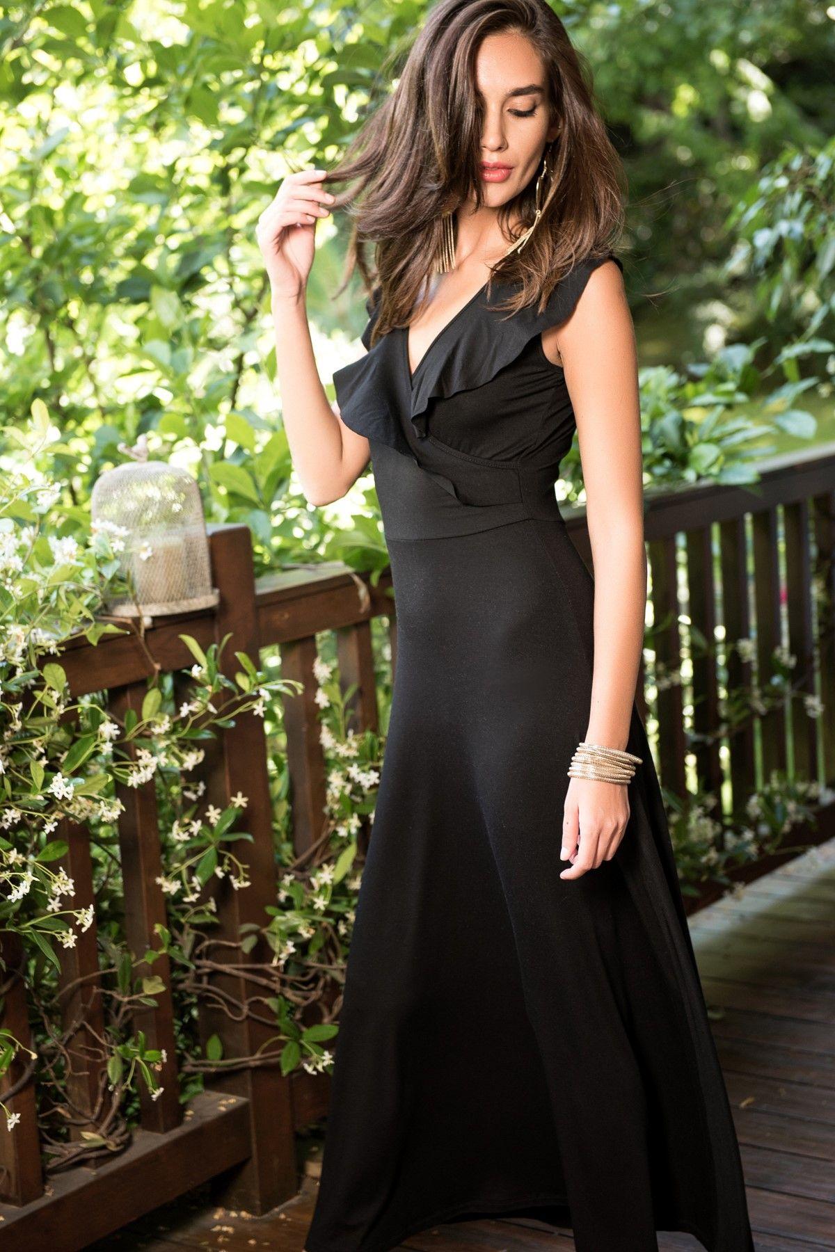 Siyah Volanli Elbise Sm012 Siyah Kisa Elbise Elbise Giyim
