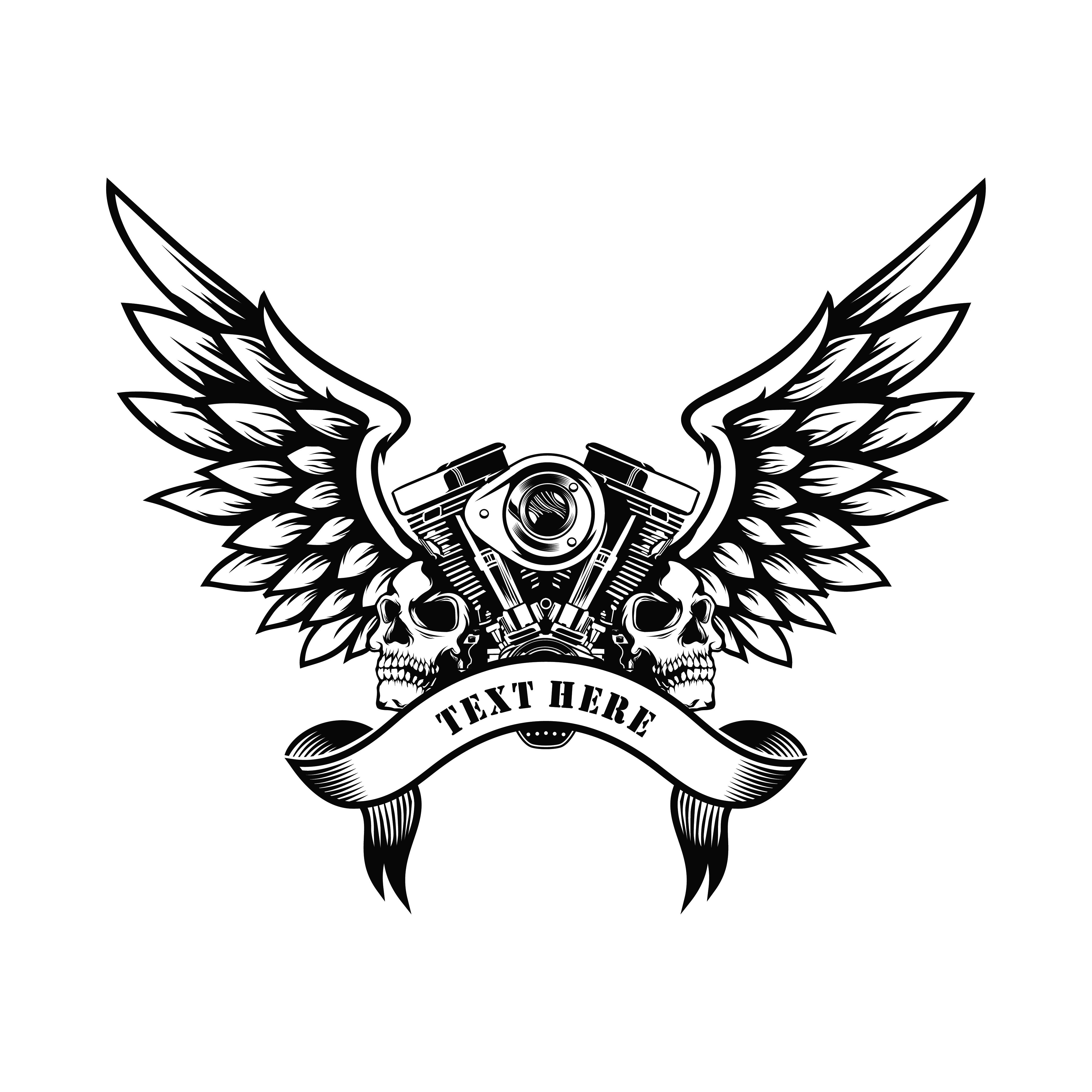 Motorcycle Club Design With Engine And Skull In