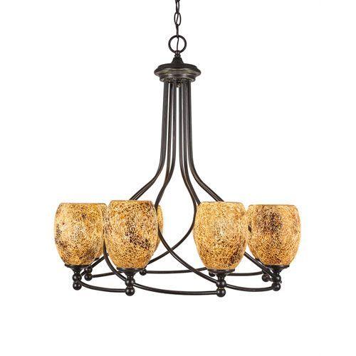 Capri Dark Granite Eight-Light 26-Inch Chandelier with 5-Inch Gold Fusion Glass