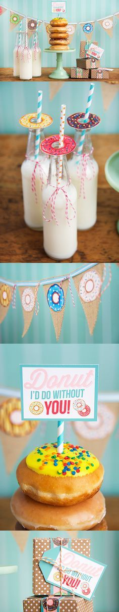 Donut party free printables! Throw a festive donut soiree, or make a simple donut gift box for a friend, neighbor, or co-worker!