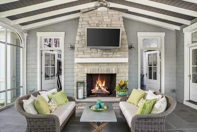 Screened In Porch With Fireplace Exterior