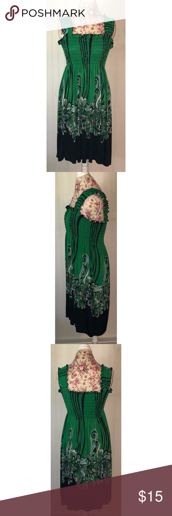 FC Green Paisley Sleeveless Short Sundress L Green paisley print dress from FC. Empire waist. Sleeveless with wide straps. Lots of stretch, very forgiving in bust and waist. Marked L/XL I would say it would fit a 12-16. Good condition.  (May) FC Dresses #shortsundress