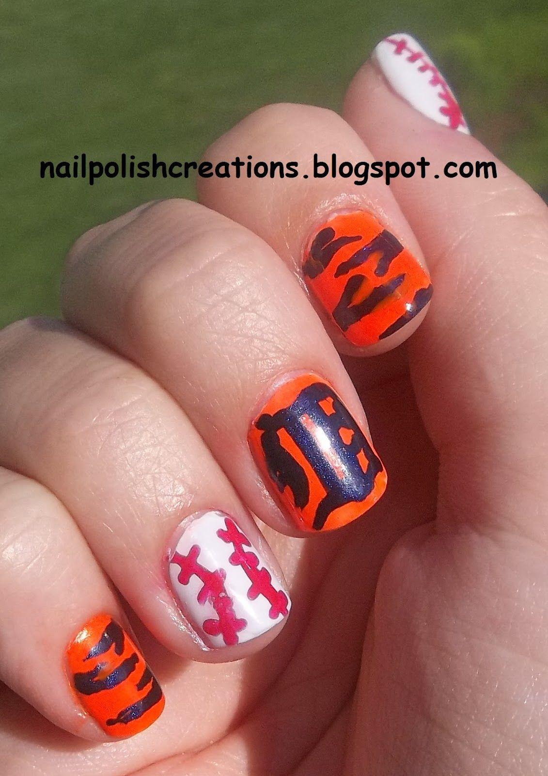 Detroit tiger nail art uc nails pinterest nail art tigers and art