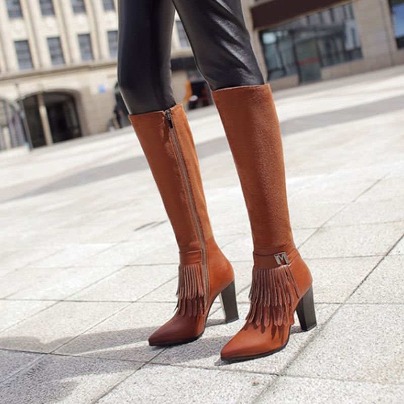fec07819d7 Ericdress Popular Fringe Decorated Plain Knee High Boots|Heel Height:9.5cm