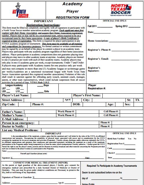 Academy Registration Form 478 Registration Registration Form Form