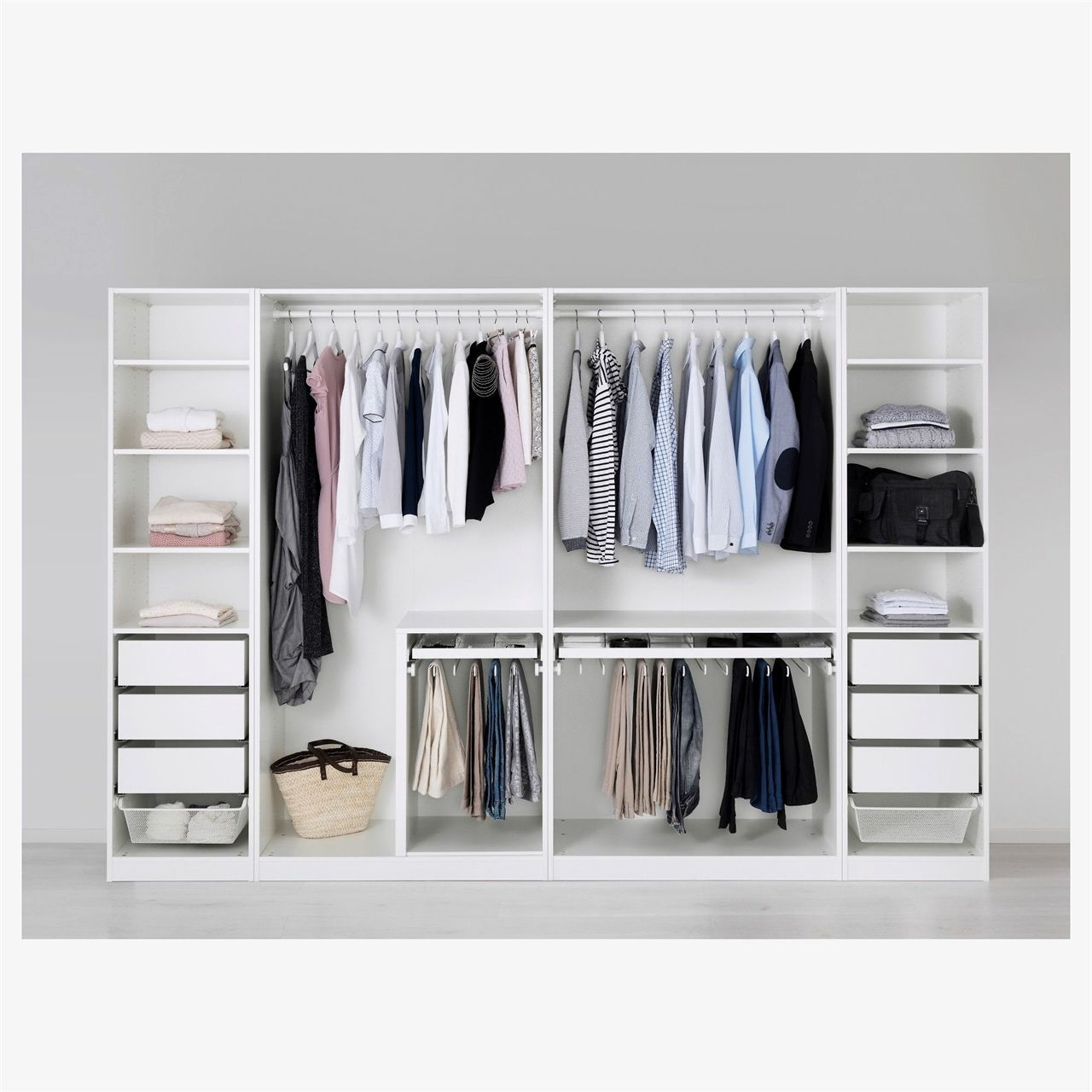 PAX Wardrobe white, Fardal highgloss/white 118 1/8x23 5
