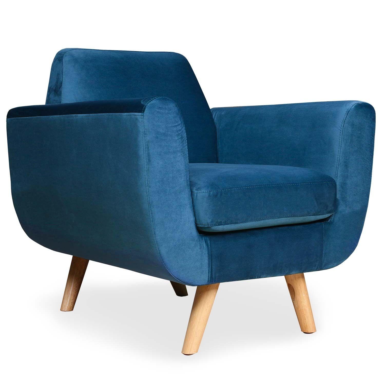 Fauteuil Scandinave Danube Velours Bleu En 2020 Fauteuil Scandinave Fauteuil Design Confortable Fauteuil