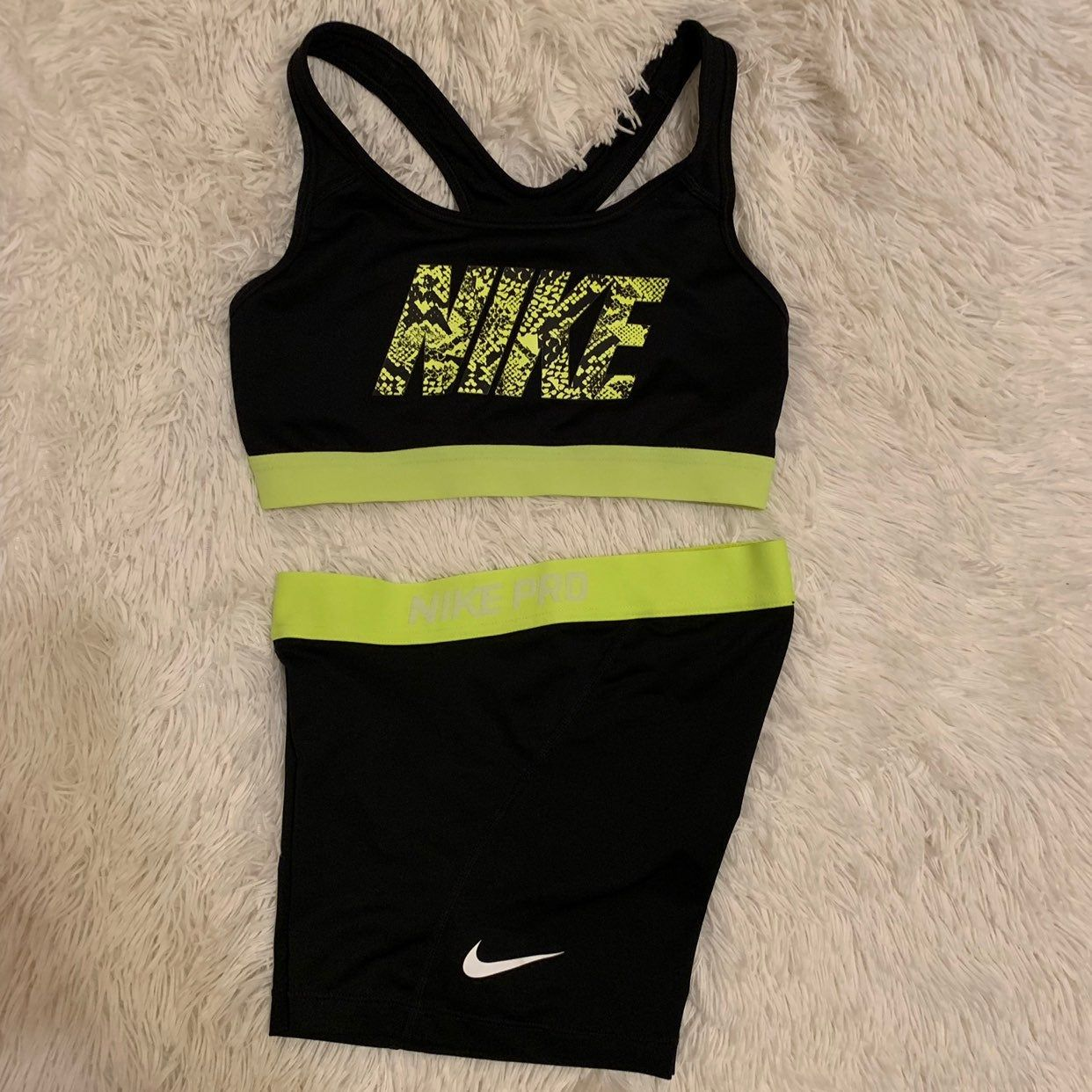Neon Green Black Nike Pro Short And Sport Bra Set In Good Conditions No Rips Or Stains Size Small Sports Bra Set Black Nikes Nike Pro Shorts