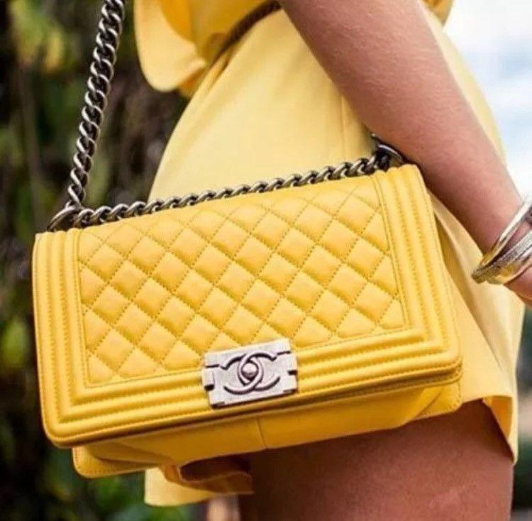 0365ed9dbcccd3 CHANEL Le Boy New Medium Lambskin Handbag With Gold Heardware Shoulder Bag