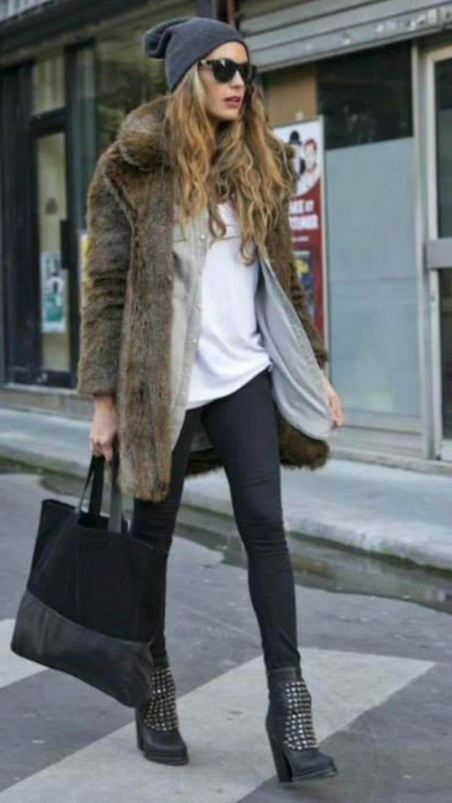 Black Leggings White Tee And Faux Fur Coat Womens Street Style Fall Winter Fashion Clothing Outfit Casual