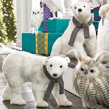 Walking Polar Bear With Scarf Grandin Road Polar Bear Christmas Indoor Christmas Decorations Polar Bear