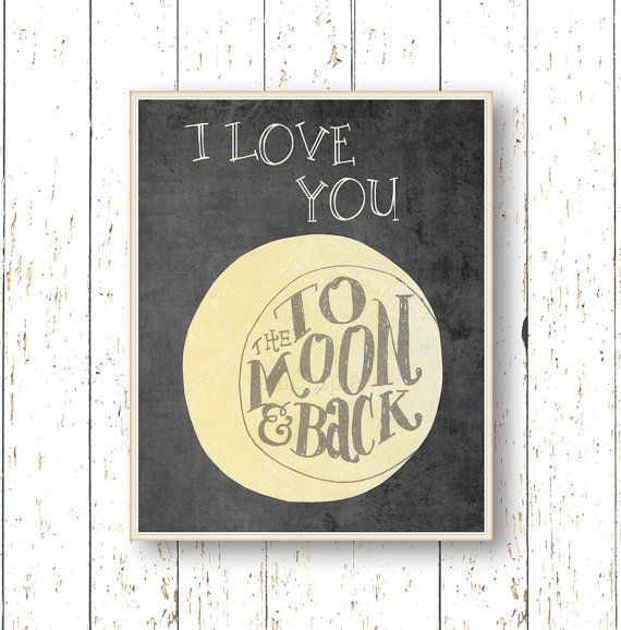 I love you to the moon and back - Art for children - Kids wall art ...