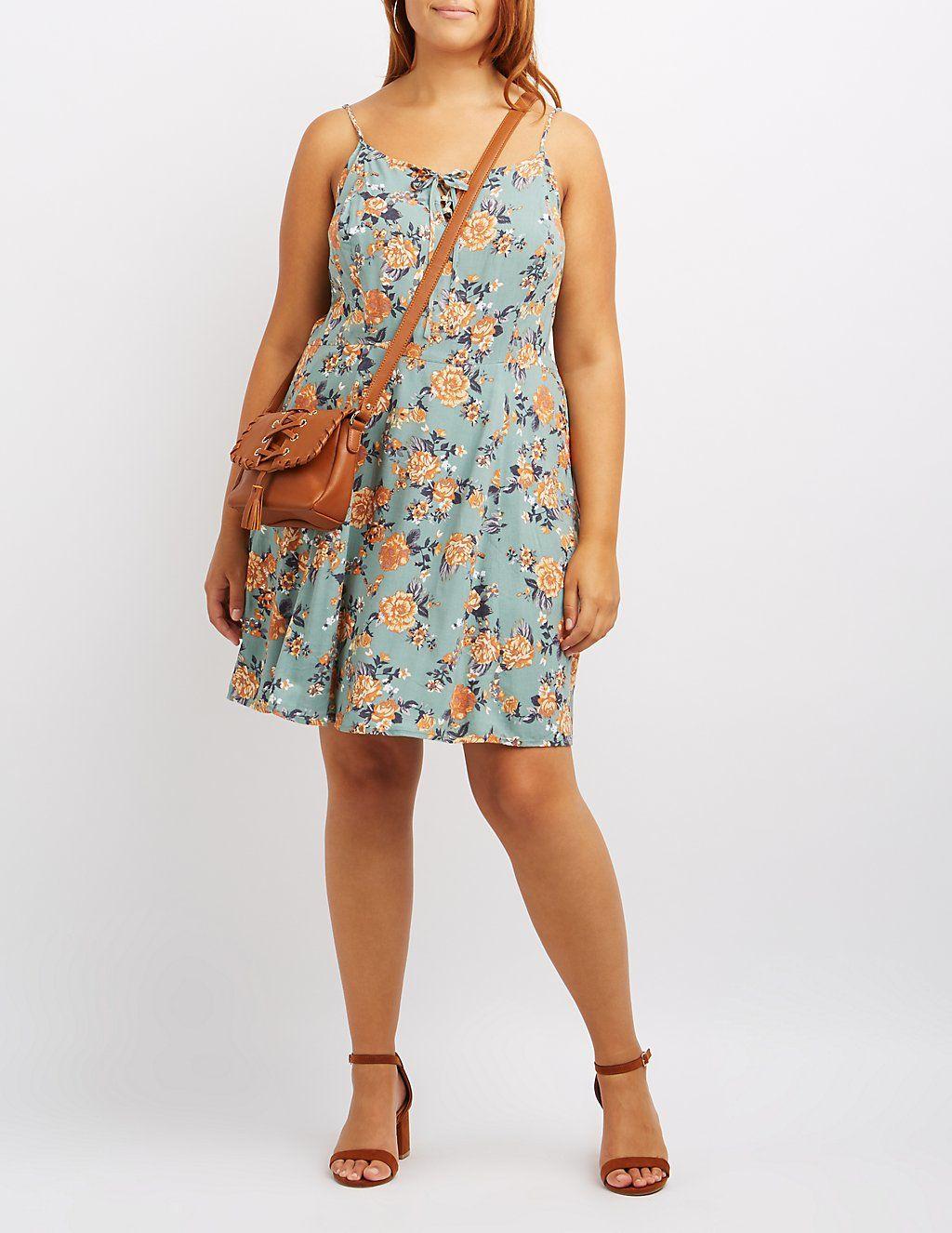 204c88b5608 Plus Size Floral Lace-Up Skater Dress
