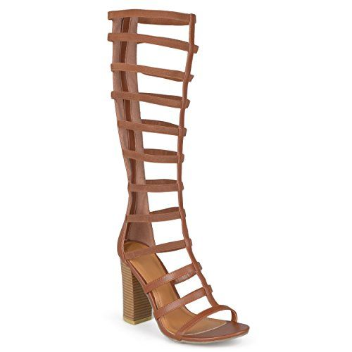 8369d041306 Journee Collection Womens Tall Strappy Heeled Gladiator Sandals Chestnut 8     Click image to review
