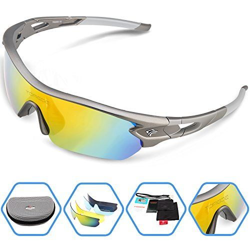 fd809958f1 Torege Polarized Sports Sunglasses With 5 Interchangeable Lenes for Men  Women Cycling Running Driving Fishing Golf Baseball Glasses TR002 (Grey)