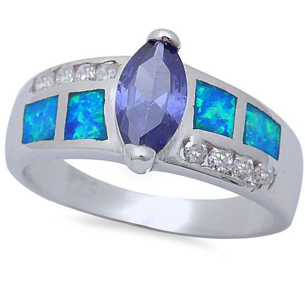 Pink Cookie Tanzanite & Blue Opal Engagement Silver Tone Ring Sizes 5-10