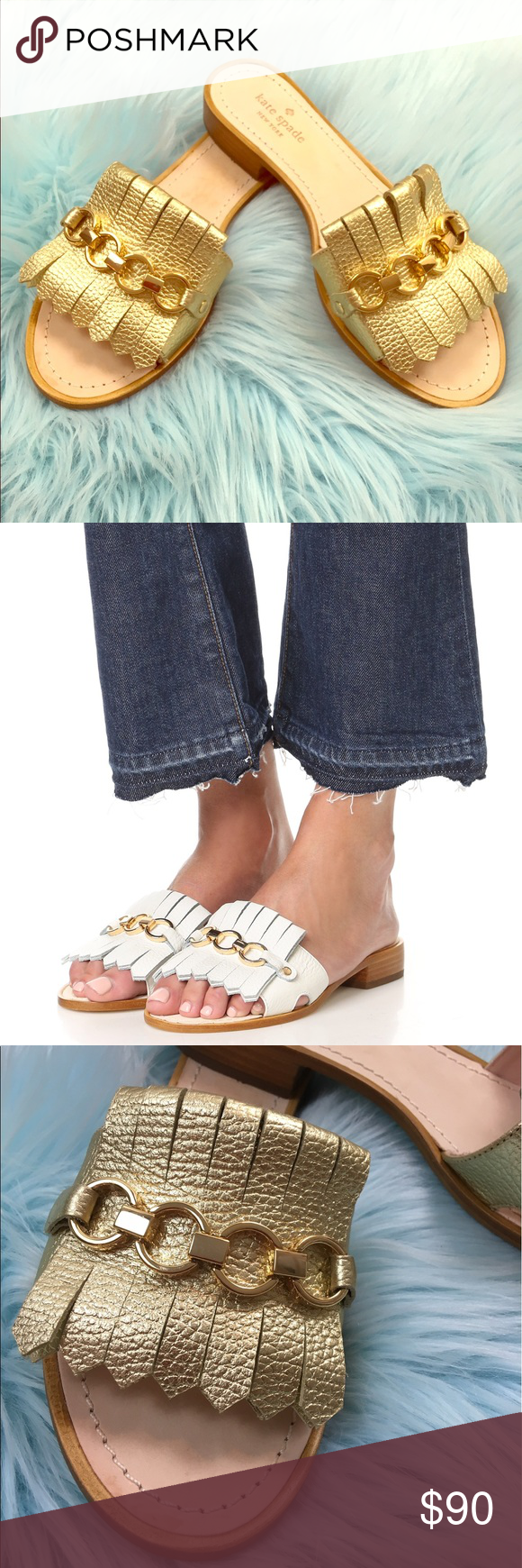 e1230ad98e96 Kate Spade Brie Metallic Gold Slip On Sandals This unique slide is  decorated with a layer of leather fringe and a chain