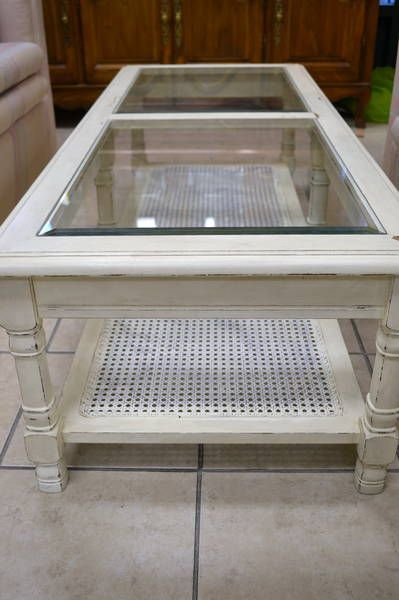 Coffee table cream shabby chic distressed finish with a for Cream glass coffee table