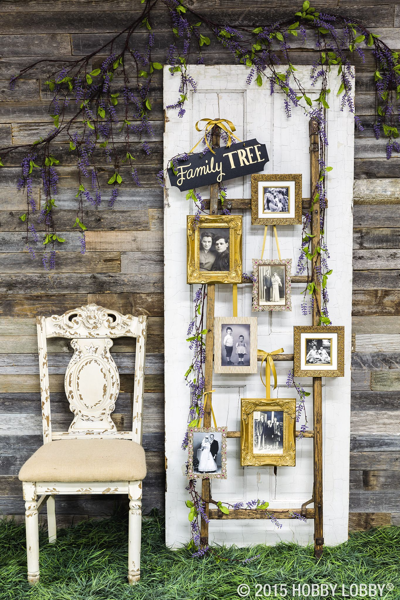 Creatively display family photos at your wedding with a one
