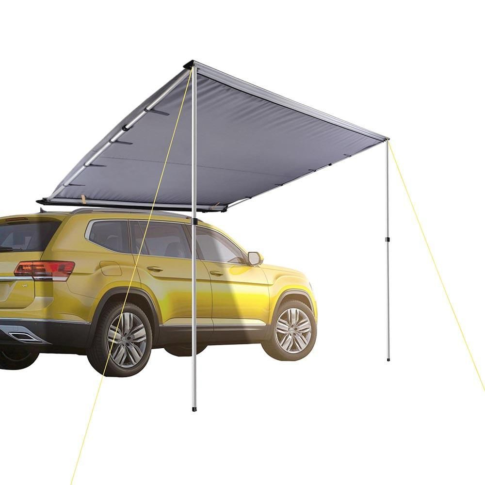 8 2 X 8 2 Retracted Car Rooftop Side Awning Shade Is Made Of 420d Oxford Fabric Features Uv50 Protection And Water Res Car Tent Tent Awning Roof Top Tent
