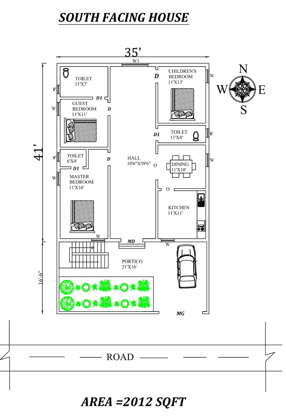 35 x41 3bhk south facing house plan as per vastu shastra