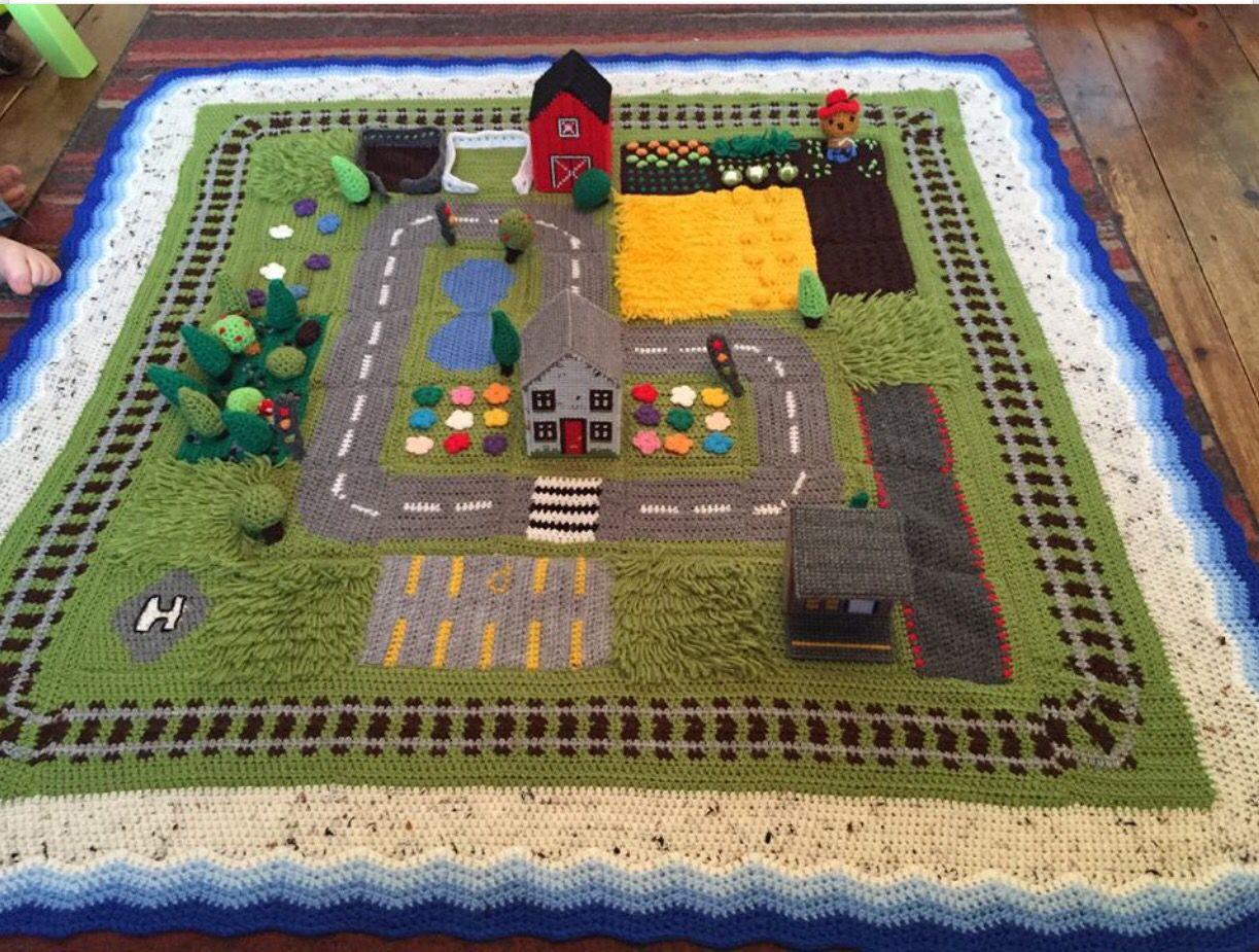 Car Play Mat Track If A Mini Town That Has Been Crocheted Crochet Game Crochet Toys Crochet Car