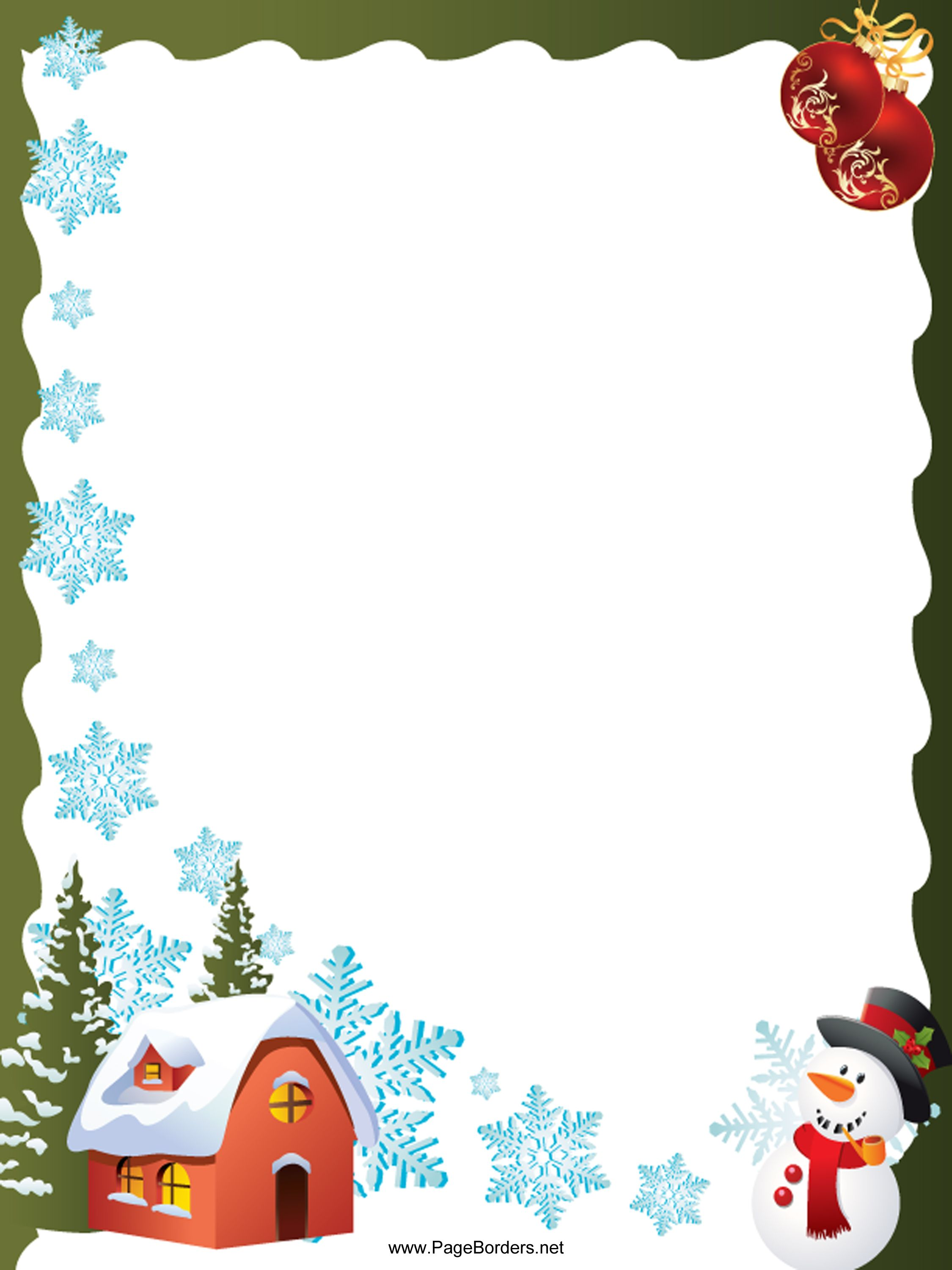 And Snowman Christmas Border This Free Festive Printable Christmas .  Christmas Borders For Word.House_Snowflakes_and_Snowman_Christmas_Border.  Page Border Templates For Microsoft Word
