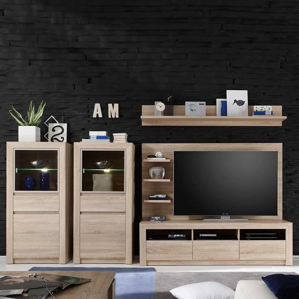 Wohnzimmerschrank Modern schrankwand mit beleuchtung sonoma eiche 5 teilig