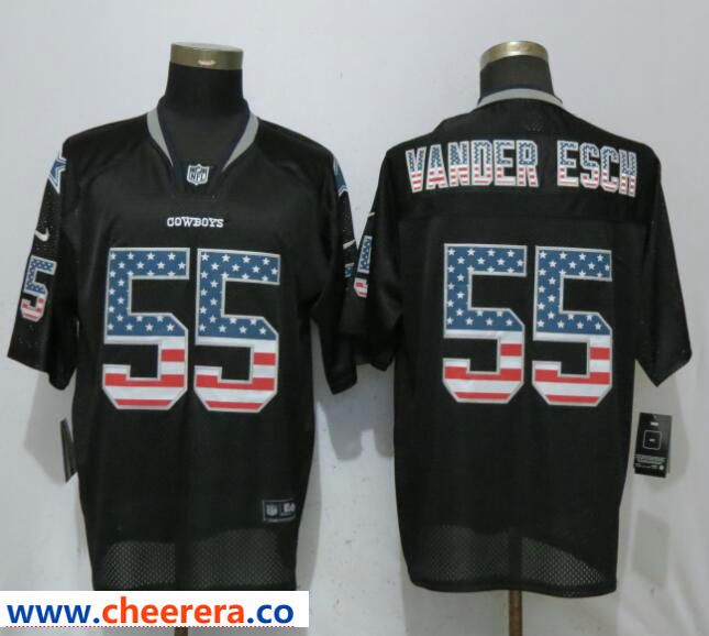 76e464144 Nike Dallas Cowboys 55 Leighton Vander Esch Black USA Flag Fashion Elite  Jersey