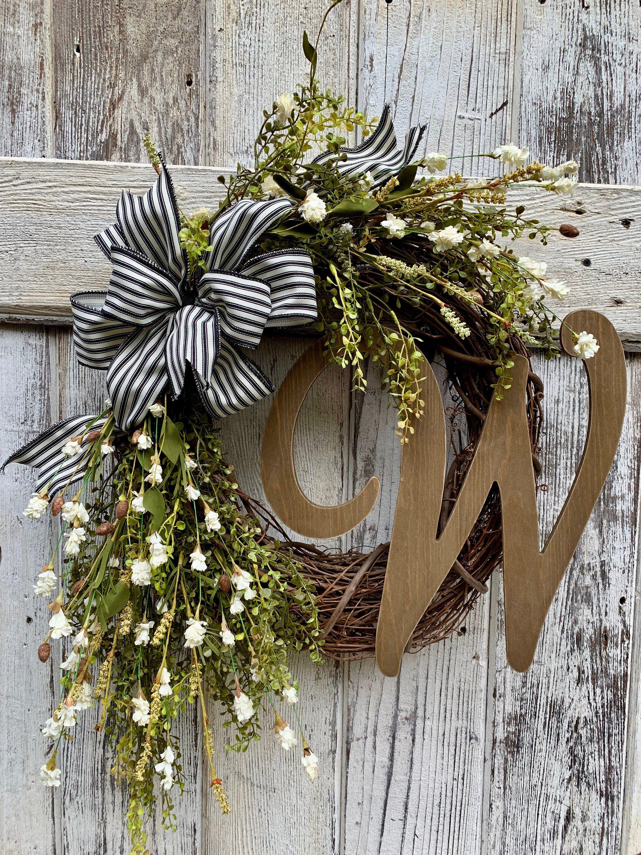 Farmhouse wreath, greenery wreath, front door wreath, everyday wreath, wreath with initial, wedding gift, housewarming gift, double door #doubledoorwreaths
