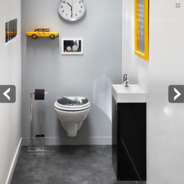 Am nagement wc peinture grise pour agrandir l 39 espace toilet - Couleur peinture toilette ...