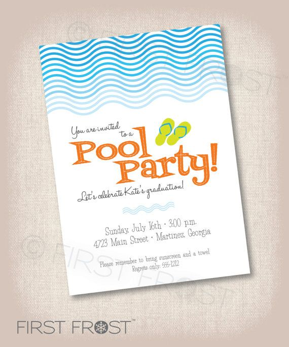 Pool Party Printable Invitation - Birthday, Graduation, Party - pool party invitation